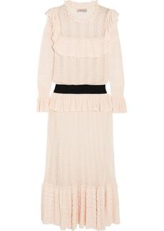 Temperley London Cypre ruffled pointelle-knit midi dress