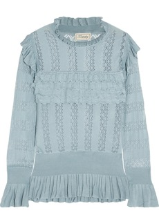 Temperley Cypre ruffled pointelle-knit sweater
