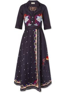 Temperley London Divine embroidered cotton wrap midi dress