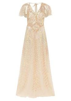 Temperley London Dusk V-neck sequinned-tulle gown