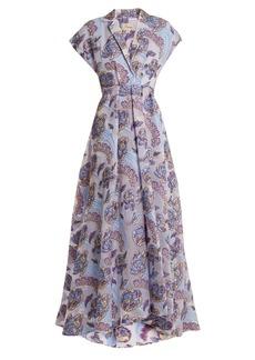 Temperley London Elsa V-neck floral-jacquard gown