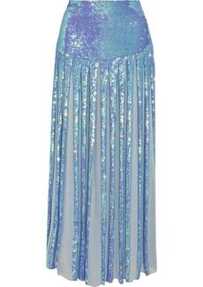 Temperley London Filigree pleated sequined chiffon maxi skirt