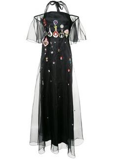 Temperley London flared embellished gown - Black