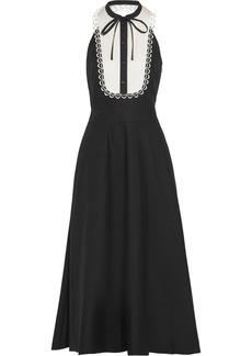 Temperley London Fountain lace-trimmed cotton-poplin midi dress