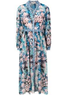 Temperley London Garden Cacti shirt dress - Blue