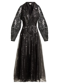 Temperley London Jet sequinned silk-organza wrap gown