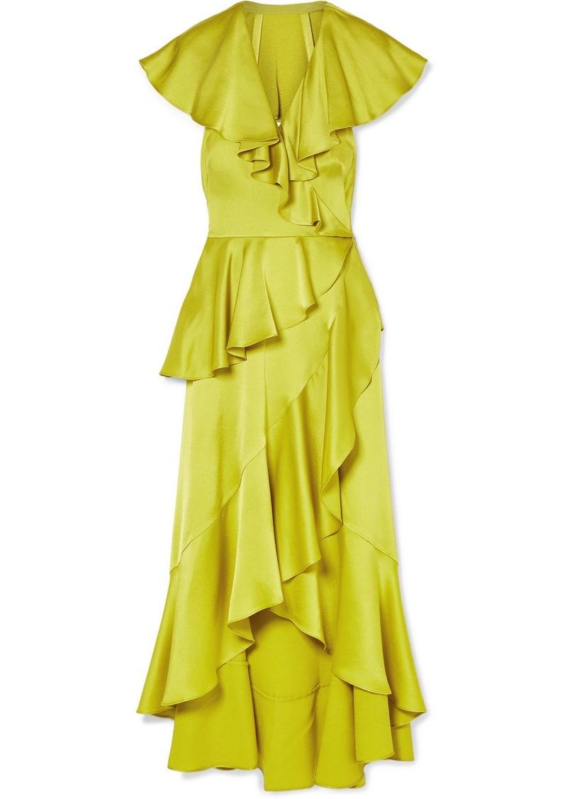 b93b4858c9 Juliette Ruffled Wrap-effect Satin-crepe Midi Dress