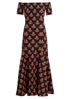 Temperley London Jupiter off-shoulder jacquard fluted dress