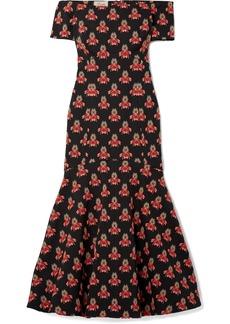 Temperley London Jupiter off-the-shoulder jacquard midi dress