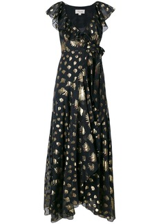 Temperley London leaf print wrap dress - Black