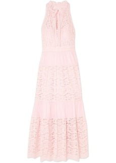 Temperley Lunar guipure lace and plissé cotton-blend dress