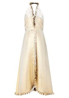 Temperley London Moon Garden halterneck shot-lamé dress