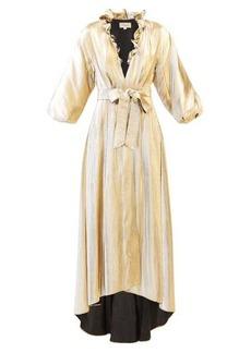 Temperley London Moon Garden ruffled V-neck lamé coat