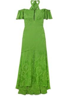 Temperley London Orbit off-the-shoulder satin-jacquard gown