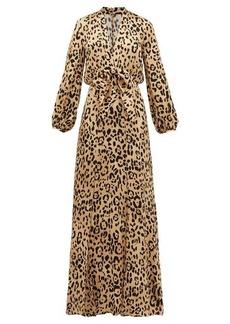 Temperley London Piera leopard-print hammered silk-satin maxi dress