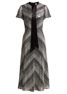 Temperley London Platinum striped sequinned midi dress