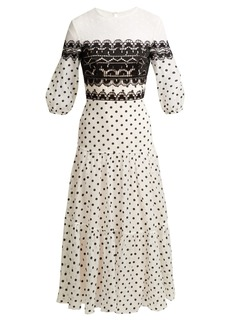 Temperley London Polka-dot cotton-blend midi dress