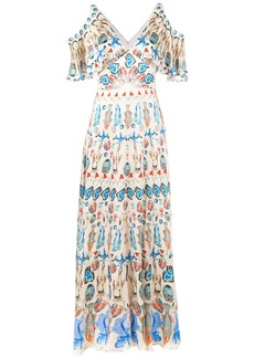 Temperley London printed cold shoulder maxi dress - Nude & Neutrals