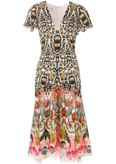 Temperley London printed plunge neck dress - Multicolour