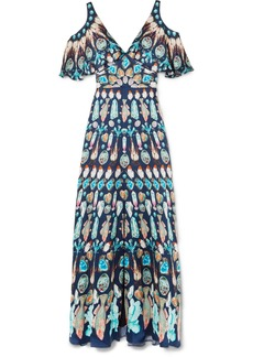 Temperley London Quartz cold-shoulder printed silk crepe de chine gown