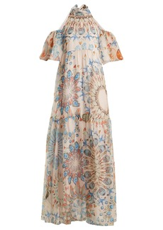 Temperley London Quartz crystal-print silk-chiffon maxi dress