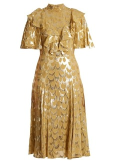 Temperley London Rider fluted-sleeve fil coupé silk-blend dress