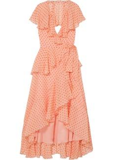 Temperley Ruffled polka-dot silk-chiffon wrap dress