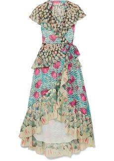 Temperley London Ruffled printed voile wrap dress