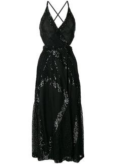 Temperley London sequinned criss cross back dress - Black