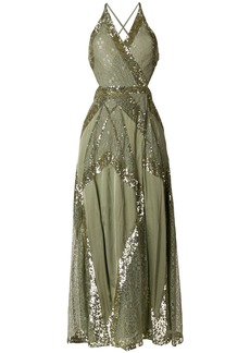 Temperley London sequinned criss cross back dress - Green