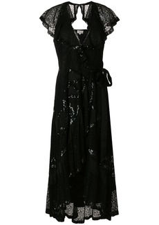 Temperley London sequinned frill trim dress - Black