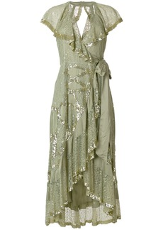 Temperley London sequinned lace frill trim dress - Green