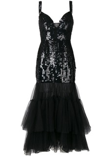 Temperley London sequinned tulle tiered dress - Black