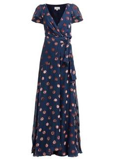 Temperley London Star velvet-devoré wrap-front gown