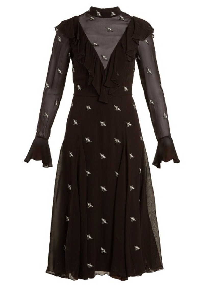 14b6ab7009a Temperley Temperley London Starling bird-embellished chiffon dress ...