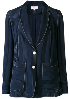 Temperley London striped relaxed blazer - Blue