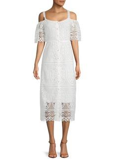 Temperley Titania Lace Cotton Midi Dress