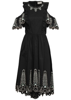 Temperley London Woman Amour Cold-shoulder Broderie Anglaise Cotton-poplin Midi Dress Black