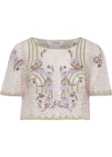 Temperley London Woman Antila Cropped Embroidered Cotton-blend Lace Top Lilac