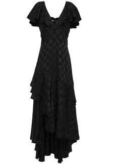 Temperley London Woman Asymmetric Tie-back Ruffled Satin-jacquard Maxi Dress Black