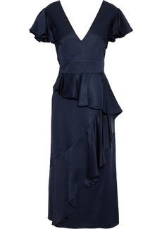 Temperley London Woman Aviator Ruffled Satin-crepe Midi Dress Indigo