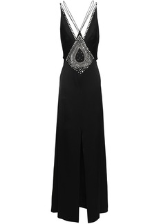 Temperley London Woman Ballerina Split-front Crystal-embellished Satin Maxi Dress Black