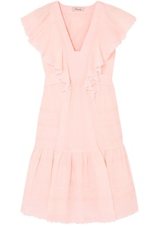 Temperley London Woman Beaux Broderie Anglaise-trimmed Ruffled Swiss-dot Cotton Dress Baby Pink