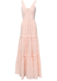 Temperley London Woman Beaux Tie-back Pintucked Swiss-dot Cotton Maxi Dress Pastel Pink