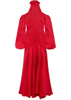 Temperley London Woman Betty Cold-shoulder Tie-neck Satin-jacquard Gown Red