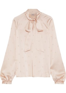 Temperley London Woman Betty Pussy-bow Satin-jacquard Blouse Baby Pink