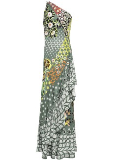 Temperley London Woman Claudette One-shoulder Printed Satin-jacquard Maxi Dress Grey Green