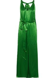 Temperley London Woman Darling Belted Silk-blend Satin Maxi Dress Green