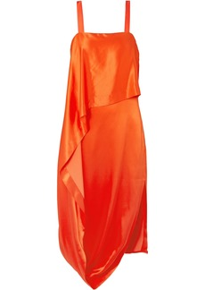 Temperley London Woman Darling Draped Silk-blend Satin Midi Dress Orange