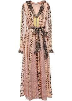 Temperley London Woman Delilah Ruffled Printed Metallic Silk-blend Voile Maxi Dress Peach